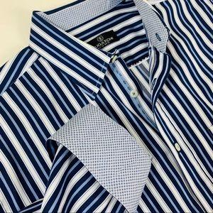 Bugatchi Striped Flip Cuff Button Down Shirt